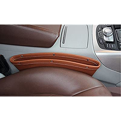TzBBL PU Leather Car Seat Gap Filler Car Storage Pocket Full Leather Package Car Seat Slit Filler Side Catches Car Accessories,Brown(2 Pack),4 Colors Available: Automotive