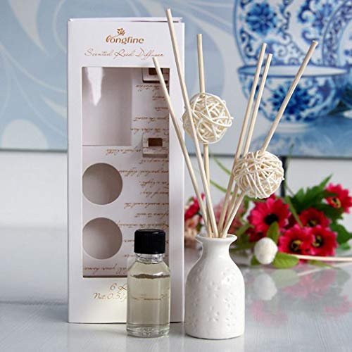 (Xisheep Reed Oil Diffusers Set, Aromatherapy Essential Oils Glass Bottle and Scented Oil Creative Gift Stress Relief 30 ML(1 Bottle of Aroma/6 Rattan Volatile Sticks/2 Rattan Ball) (E))