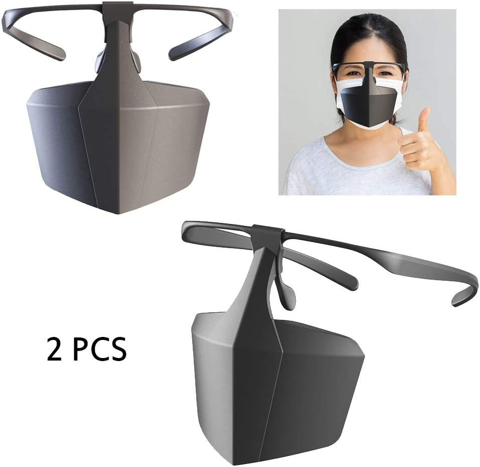 Máscara protectora de plástico, contra gotas de aislamiento antivaho máscara facial, transpirable, reutilizable, protector de equipo de aislamiento (2 unidades)