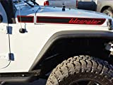 The Pixel Hut gs00221 Black with Red Lettering Wrangler Retro Hood Decals for Jeep Wrangler JK (2007-2018)