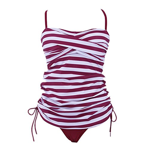 SherryDC Women's Retro Striped Twist Bandeau Padded Tankini Swimsuit with Briefs ((US 10-12) L, red Striped)