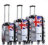 Rivolite 3 piece lightweight luggage set(20'',24'',28'')Expandable The Printing Design Luggage(Big Ben)