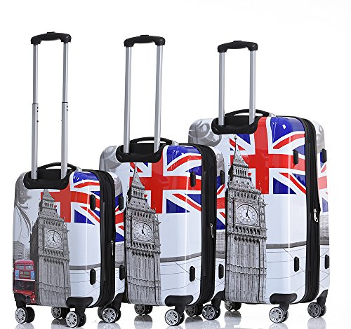 Rivolite 3 piece lightweight luggage set(20'',24'',28'')Expandable The Printing Design Luggage(Big Ben) by Rivolite