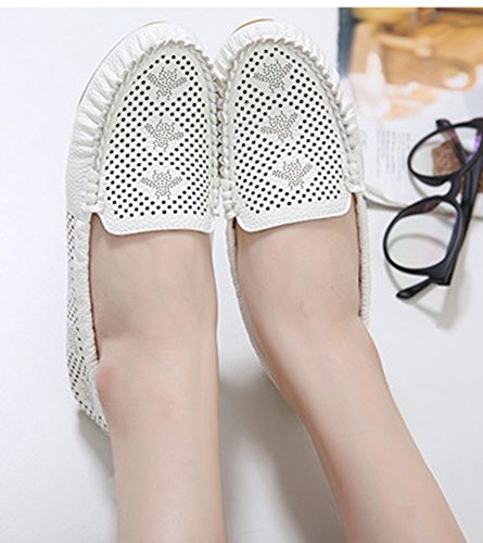 Plates Blanc Coutures Chaussures Simple Aisun Mocassins Femme w8I7zyq1