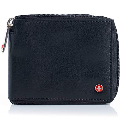 Alpine Swiss Men's RFID Blocking Leather Wallet Zip Around ID Card Bi-fold, Black ()