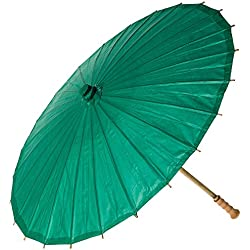 Luna Bazaar Paper Parasol (32-Inch, Teal) - Chinese/Japanese Paper Umbrella - For Weddings and Personal Sun Protection