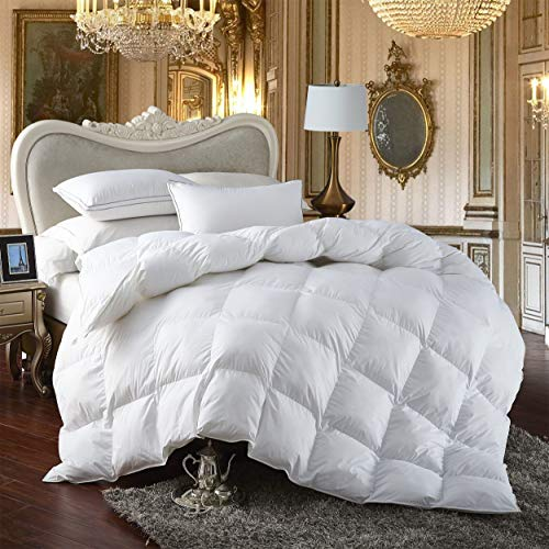 Premium All Season Queen Size Luxury Siberian Goose Down Comforter Duvet Insert 750fp 1200 Thread Count 100 Egyptian Cotton Queen White Solid