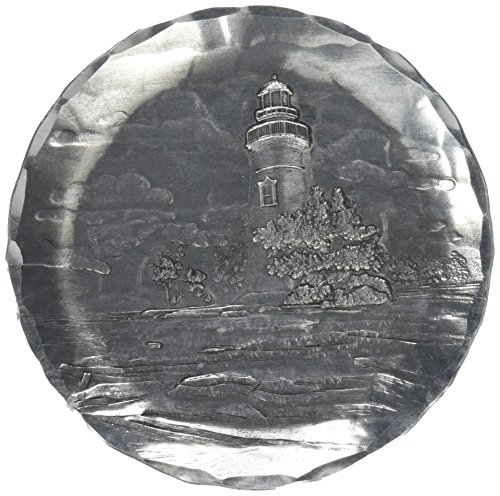 Wendell August Lighthouse Coaster, Marblehead, Hand-hammered Aluminum, Keeps Tabletops Safe, 4.5 Inch Round ()