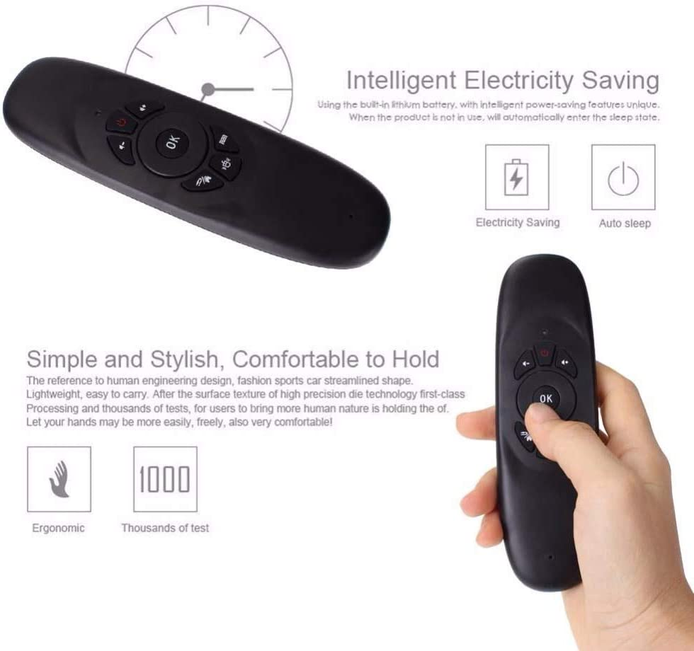 Color: black Calvas C120 Air Mouse Remote Controller Wireless Game Keyboard Rechargeable 2.4Ghz Keyboard for Android Smart TV//TV Box//Mini PC