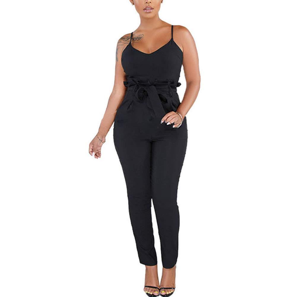 Desirepath Women Summer Spaghetti Strap Rompers Long Skinny Jumpsuits Vacation Pants Playsuit Black