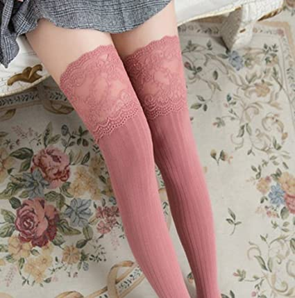 e615306cb Buy Imported   new lace knitted knee socks personality thick cotton long  Pink color stockings Online at Low Prices in India - Amazon.in
