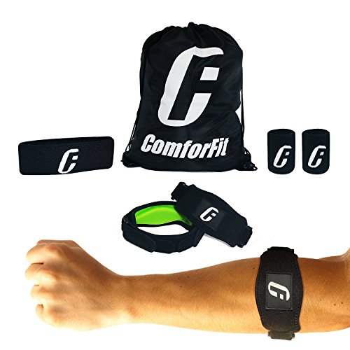 Tennis Elbow Brace with Compression Pad, Golfers Support Strap Band for Tendonitis and Forearm Pain Relief, 2 Elbow Braces, 2 Wrist Sweatbands, Head Sweatband, Carry Bag and E-book by ComforFit