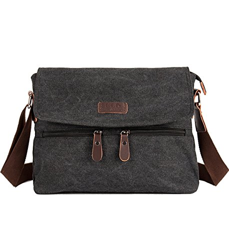 Degohome Canvas Satchel Bag Shoulder Bag Crossbody Sling Bag for Men and Women (black)