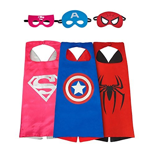 Asgift Comics Cartoon Dress Up Costumes 4 Pcs Satin Capes with Felt Masks for ()