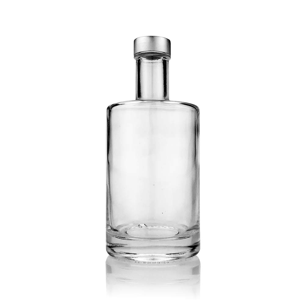 Set of 3-375 ml (12.75 oz) Nordic Glass Bottle Decanter with Silver Screw Caps for Whiskey, Liquor, Syrup or Mouthwash