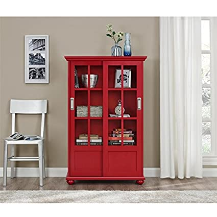 Amazon Com Altra Arron Lane Red Bookcase With Sliding Glass