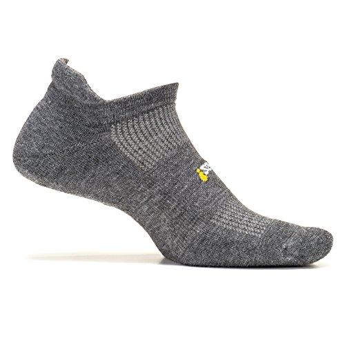 Feetures Unisex High Performance Ultra Light Cushion No Show Tab Socks,Heather Gray, - Socks Cushion Show