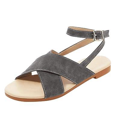 f8292d3a83878 Amazon.com: Sharemen Women's Sandals Open Toe Flat Shoes Belt Buckle ...