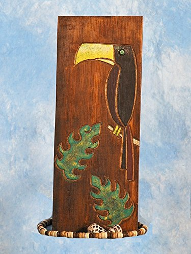 TikiMaster BIRD & MONSTERA LEAF RELIEF - 20'' CARVED & PAINTED - OCEANIC ART by TikiMaster