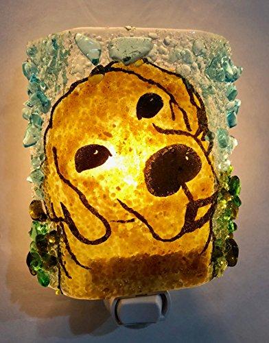 Golden Labrador Retriever Dog Lab Puppy Recycled Glass Night Light Nightlight Nitelite Handmade - Handmade Glass Recycled