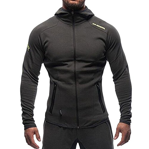 (EVERWORTH Men's Gym Workout Hoodie Jacket Fitted Training Bodybuilding Running Active Sweatshirts With Zipper Pockets Black,US Small/Tag L(Chest:36