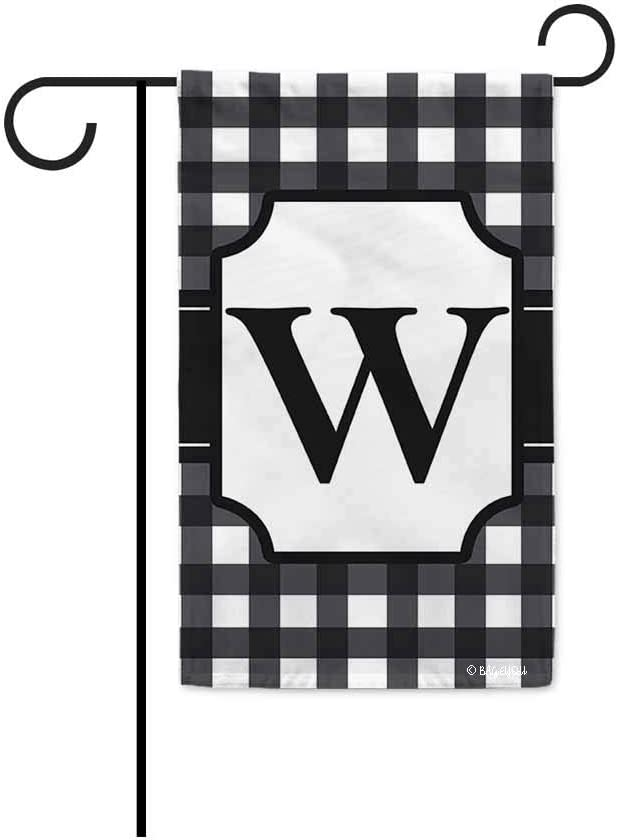 BAGEYOU Monogram Initial W Checkers Plaid Lattice Decorative Garden Flag for Outside Housewarming Gifts 12.5 X 18 Inch Printed Double Sided