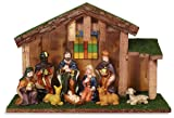 Blessed Nativity in Stable Stain Glass Window Religious Christmas Decoration