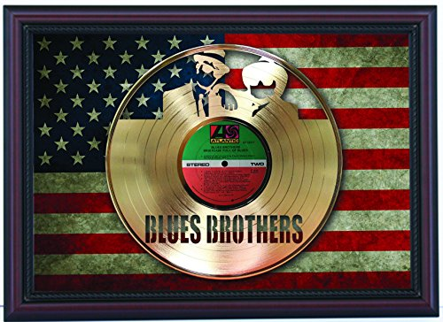 Blues Brothers Briefcase of Blues laser cut Gold LP custom framed flag display, limited edition