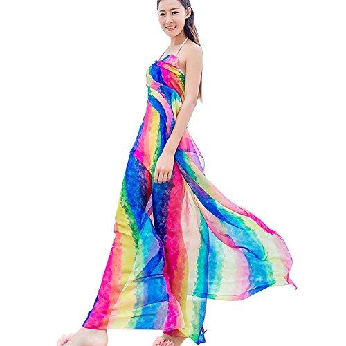 6ca3a458f93e5 Leezo Women Summer Beach Bikini Swimsuit Wrap Chiffon Shawl Scarf Cover UPS  Rainbow Stripe Blue A - Buy Online in Oman.