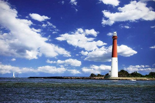 (HeritageArtDecor Barnegat Bay Light II - Fine Art Print on Canvas Home Decor Print 34 x 23 Inch - Wall Art Painting Canvas Print ONLY -NO Frame)