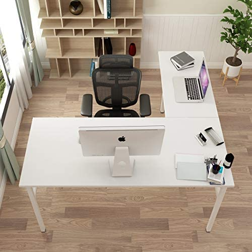 DlandHome L-Shaped Desk Large Corner Desk Folding Table Computer Desk Home Office Table Computer Workstation