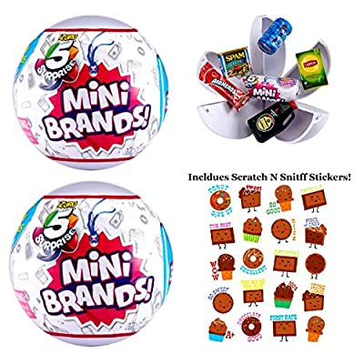 5 Surprise (2 Pack) Mini Brands Collectible Capsule Ball by Zuru Includes Scented Chocolate Stickers Bundle!: Toys & Games