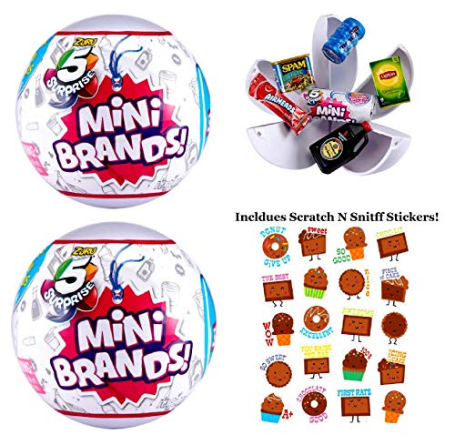 5 Surprise (2 Pack) Mini Brands Collectible Capsule Ball by Zuru Includes Scented Chocolate Stickers Bundle!