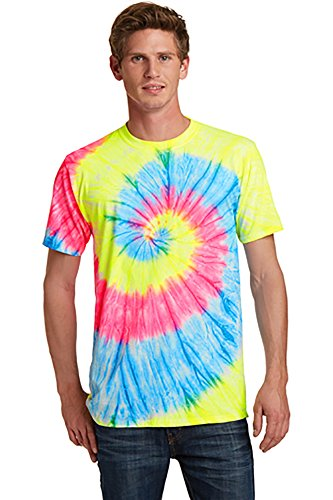 Port & Company Unisex Adult Tie Dye Camp Tee Small Neon Rainbow from PORT AND COMPANY