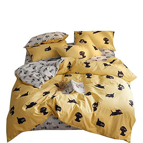 VClife Cotton Duvet Cover Sets Twin Cartoon Bedding Sets Chic White Yellow Reversible Bedding Collections Home Textile 3 Pieces Cute Animal Boys Girls Single Bedding Comforter Cover with Pillowcases