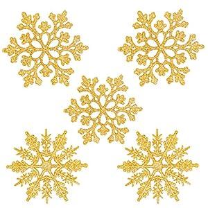 Fiocchi di Neve Decorativi Natale, Decorazioni Albero Natale, Fiocchi di Neve di Glitter, Fiocchi Neve Decorativi, 24 Decorazioni Fiocchi Neve per Decorazione Albero di Natale da Appendere (Oro) 7 spesavip