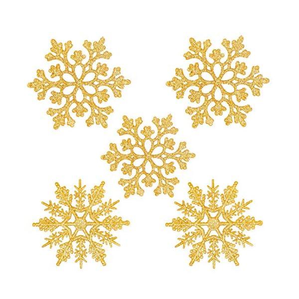 Fiocchi di Neve Decorativi Natale, Decorazioni Albero Natale, Fiocchi di Neve di Glitter, Fiocchi Neve Decorativi, 24 Decorazioni Fiocchi Neve per Decorazione Albero di Natale da Appendere (Oro) 1 spesavip