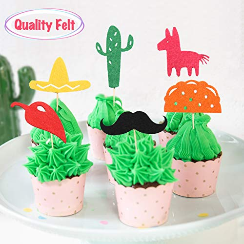 Fiesta Cupcake Toppers, Mexican Themed Cactus Donkey Taco Pepper Sombrero Mustache Party Decorations, 24 pcs