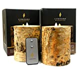 Luminara BIRCH BARK Flameless Candle 5'' Inch Pillar Ivory Wax: 2pc Set w/ Remote Control - 4'' x 5'', Battery Operated, Timer | REAL BIRCH WOOD - NOT PAINT | Home, Bed & Bath, Natural, Wedding Gift