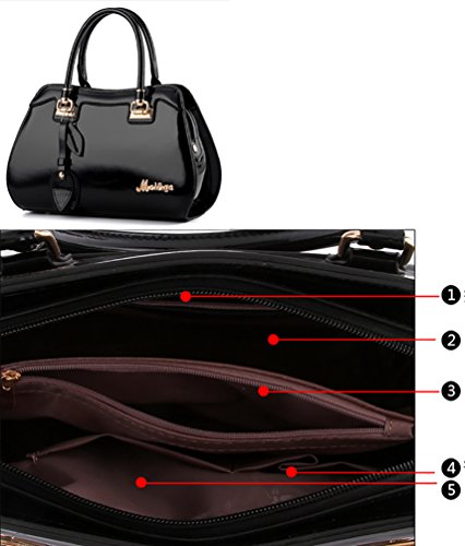 Femmes Satchel Bow Sacs Main Sac Avec Vin Nuclerl Designer noir Supérieure Pour À Les Bandoulière Poignée Rouge Shape 15vSq