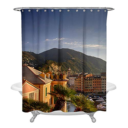 (Kimove Fabric Shower Curtain Set with 12 Hooks Decorative Bathroom Accessories Home Decoration Waterproof Washable Curtains for Bathroom Showers, genoa-4141143)
