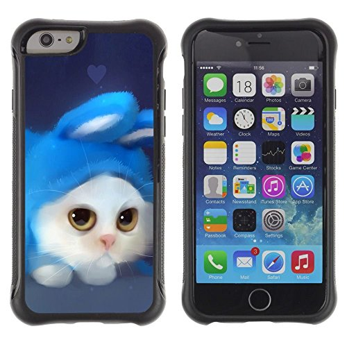 Pulsar iFace Series Soft TPU Skin Bumper Case Cover for Apple iPhone 6+ Plus(5.5 inches) , White Cat Rabbit Costume Art Drawing