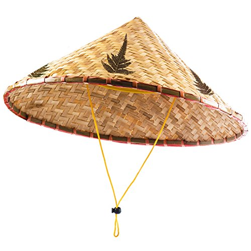 Asian Hat - Rice Paddy Hat - Chinese Hat - Rice Farmer Hat - Conical Hat Funny Party Hats ()