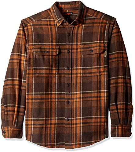 Wolverine Men's Glacier Heavyweight Long Sleeve Flannel Shirt, Russet Plaid, XX-Large