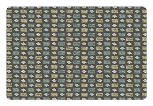 Lunarable Green Pet Mat for Food and Water by, Antique Roman Style Polka Dots in Square Shapes and Round, Rectangle Non-Slip Rubber Mat for Dogs and Cats, Sage Green Olive Green and Light Green