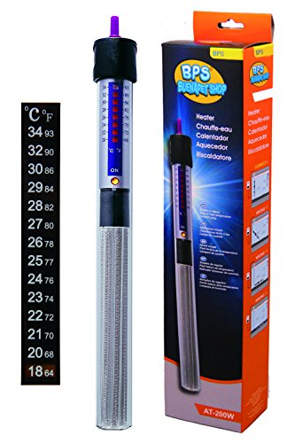 BPS (R) Calentador Sumergible para Pecera 150W - 26.5 cm con Un Termómetro Digital Adhesivo.