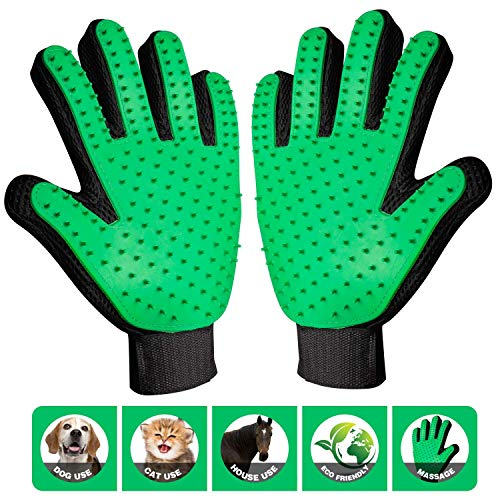 - ByeBye Fur Pet Grooming Glove | Soft Brush Cat, Dog Other Animals - Efficient Five Finger Design to Remove Hair | Easy to Clean Massages Pets Long Short Fur Types