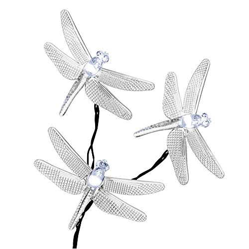 Outdoor Dragonflies Solar String Lights by Icicle, 16ft 20 LED 8 Modes Fairy Lighting for Christmas Trees, Garden