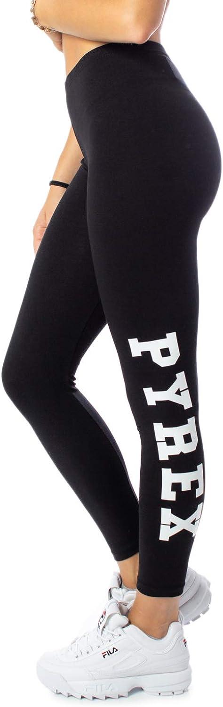 Pyrex Leggings Donna Nero Basic Stampa con Logo 34230
