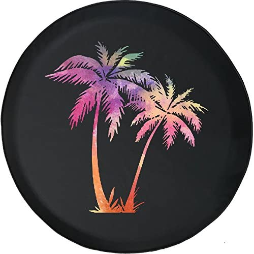 American Educational Products Watercolor - Palm Trees on Beach Jeep RV Spare Tire Cover Black 35 in for cheap